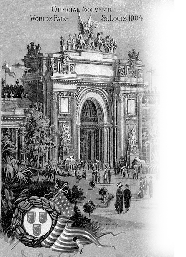 An official souvenir  postcard featuring Palace of Liberal Arts from the 1904 St. Louis World's Fair.