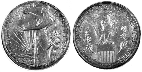 Obverse and reverse of one of the Panama Pacific Exposition Silver Coins.