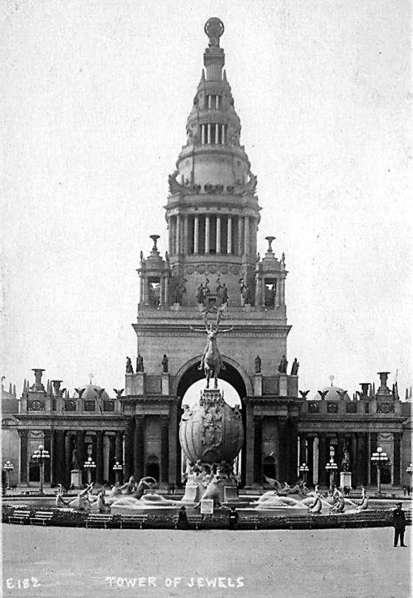 A postcard featuring The Tower of Jewels from The 1915 Panama-Pacific World's Fair.